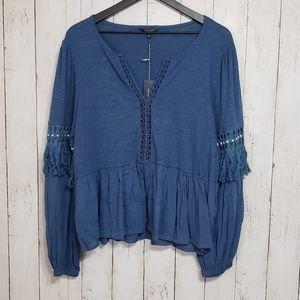 Nwt Lucky Brand | boho open knit fringe top